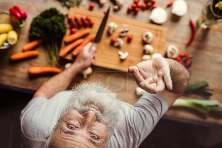 Man preparing vegan food