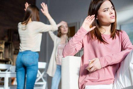 Young women quarreling