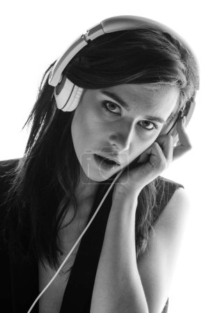 hipster woman in headphones