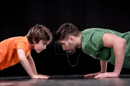 man and boy training together