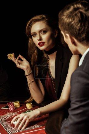 Couple playing poker