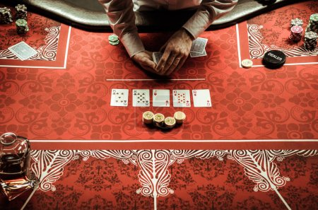 Croupier dealing card