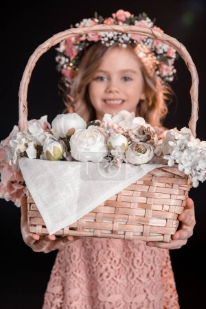Girl with flower basket