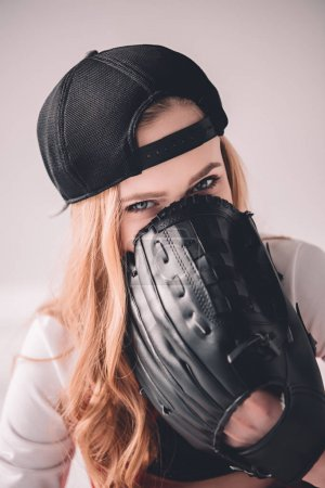 Woman with baseball glove