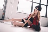 Woman with baseball bat