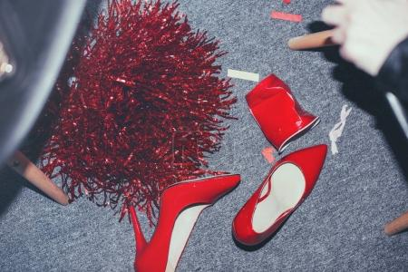 Red shoes on floor