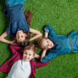 Top view of three cute kids lying on grass with ha...