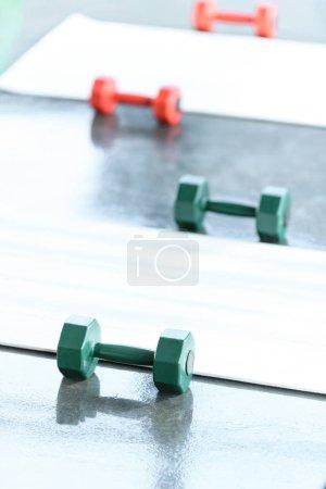 Dumbbells on floor in gum, selective focus