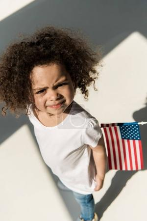 Curly american girl with american flag