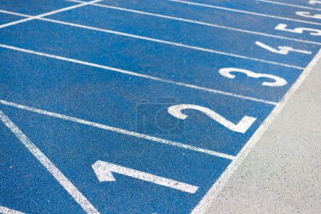 Photo for Close up view of numeration of running track on olympic stadium - Royalty Free Image
