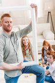 happy redhead family