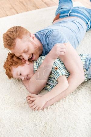 Happy father with son