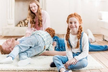 Beautiful redhead family