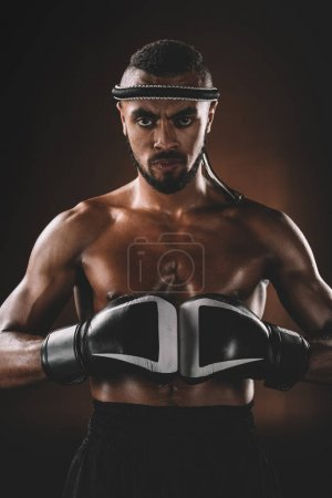 Photo for Aggressive Muay Thai fighter with boxing gloves looking at camera, boxing gloves fight concept - Royalty Free Image