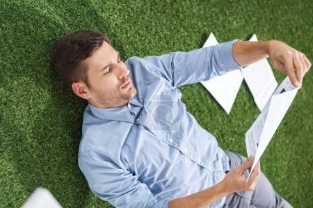 businessman analyzing documents