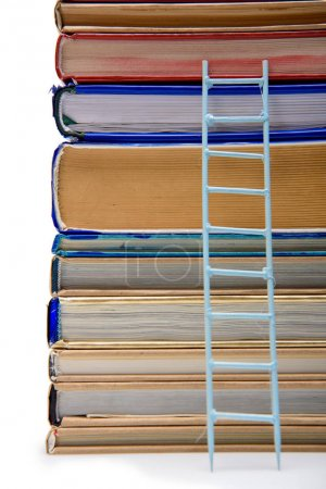 stack of books with ladder