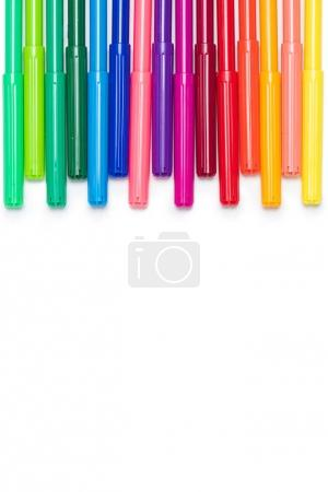 Photo for Close-up view of set of colorful felt tip pens isolated on white - Royalty Free Image