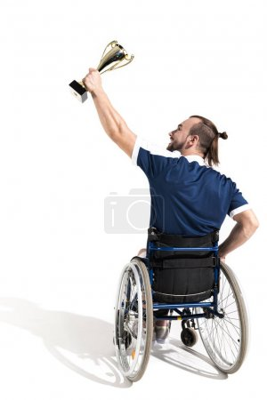 Disabled tennis player with goblet