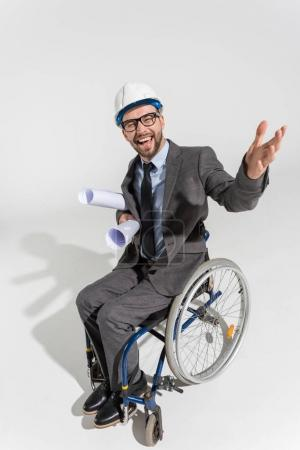Happy disabled architect