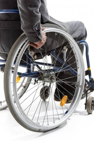 physically handicapped man on wheelchair