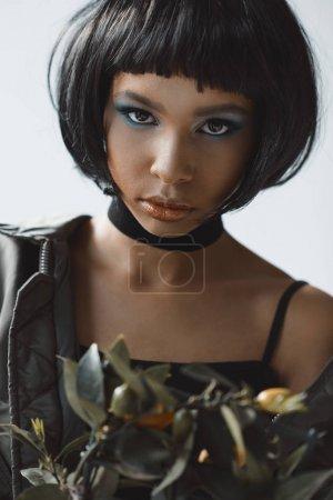 stylish woman with choker