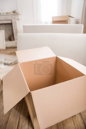 Cardboard box in empty room