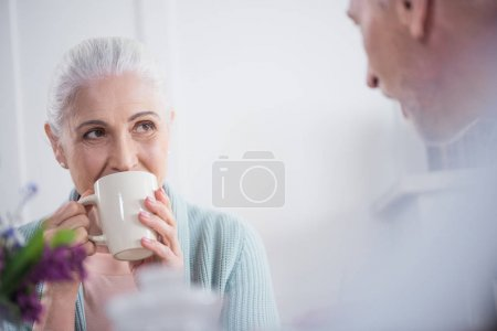senior couple drinking tea