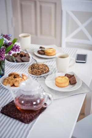 tea and various pastry on tabletop