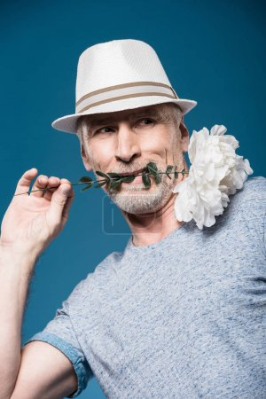 stylish senior man with flower