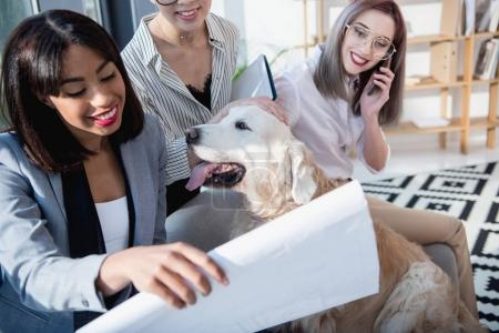 multiethnic businesswomen playing with dog at office