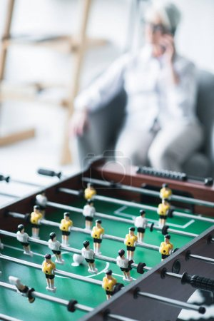 close-up foosball in office