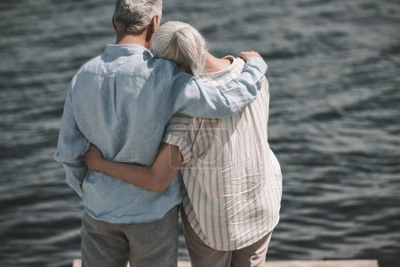 Photo for Back view of elderly couple standing embracing and looking at waves - Royalty Free Image
