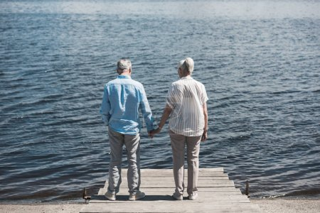 Photo for Back view of senior couple standing and holding hands on riverside at daytime - Royalty Free Image