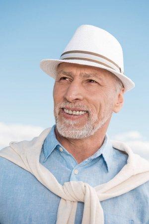 grey haired stylish man