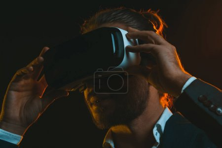 Photo for Portrait of young man using virtual reality headset - Royalty Free Image