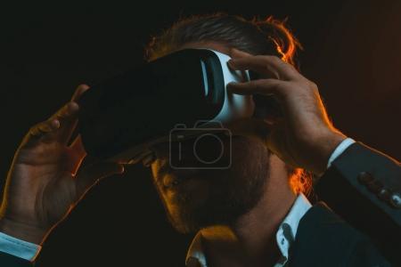man using virtual reality headset