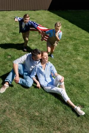 Happy family with American flag