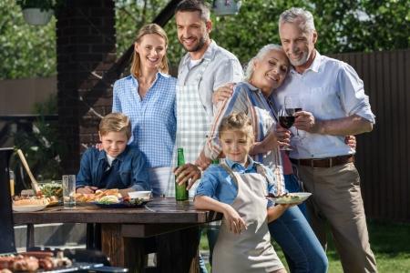 happy family having picnic on patio