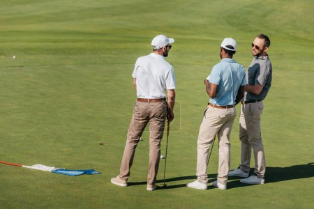 Professional golfers talking on green pitch