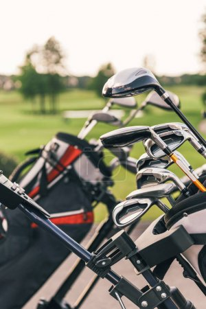 Golf clubs in bags