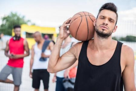 Basketball player with ball