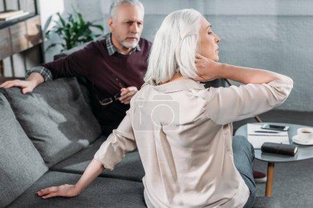 Woman having neck ache