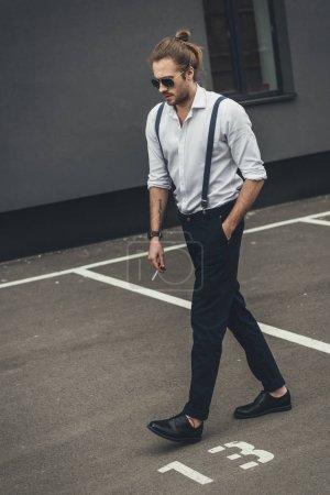 Handsome stylish man smoking