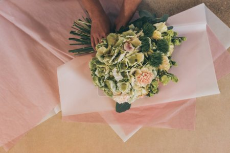 Florist arranging flowers