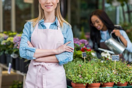 Photo for Cropped shot of blonde smiling florist in apron standing with crossed arms while colleague watering plants in flower shop - Royalty Free Image