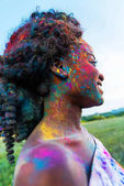 African american woman at holi festival
