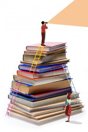 Pupil standing on pile of books