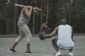 Multiethnic men playing baseball