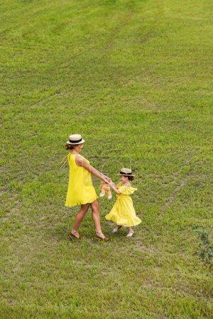 Foto de Vista de ángulo alto de hermosa feliz madre e hija las manos y jugando en el Prado - Imagen libre de derechos
