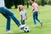"""Постер, картина, фотообои """"отец с детьми, играть в футбол"""""""